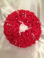 ELLIE BRIDE BOUQUET - ARTIFICIAL RED WHITE FOAM ROSE BRIDE WEDDING BOUQUET FLOWERS POSIE CRYSTAL